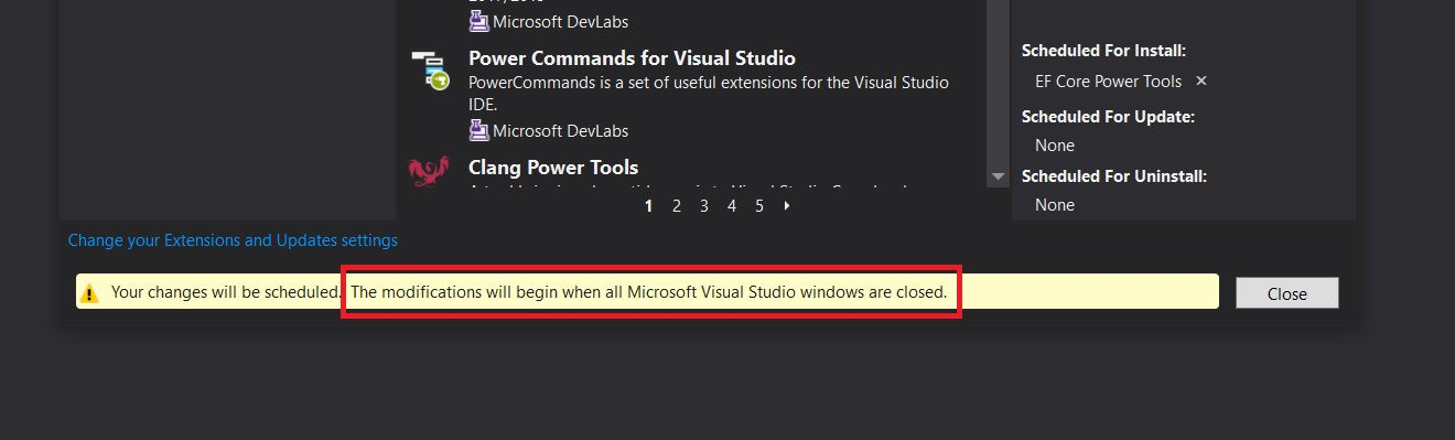 Installing Entity Framework Core Power Tools Step 3